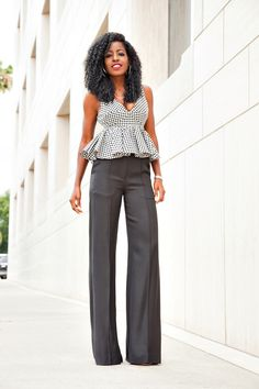 Gingham Baby Doll Blouse x Wide Leg Pants