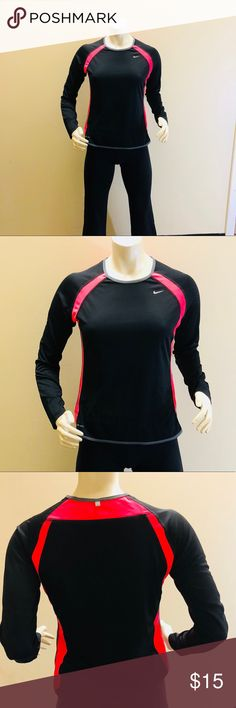 Pink and black long sleeve Nike Shirt Pink and black Nike shirt. Size medium Nike Tops Tees - Long Sleeve