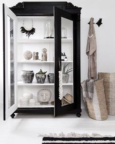 Black display cabinet with white interior