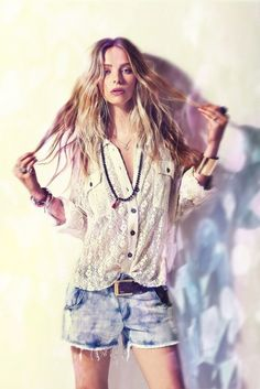 Cute boho chic outfit for summer - lace shirt & distressed cut offs with Tibetan beads and stacked wrist wear. Joveeba.