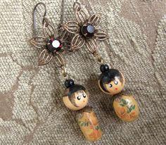 Fancy Flower Kokeshi Doll Earrings Wooden Beads Niobium Ear Wires
