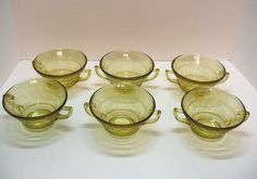 Six Vintage Depression glass Amber Cream Soup Bowls by Federal Glass Co. in Patrician Pattern 1933-37
