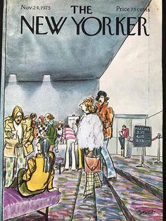 New Yorker magazine COVER ONLY November 24 1975 Saxon art-Movie theatre lobby in Books, Magazine Back Issues The New Yorker, New Yorker Covers, Capas New Yorker, Vintage Illustration Art, New Yorker Cartoons, Magazine Art, Magazine Covers, Vintage Comics, Vintage Magazines