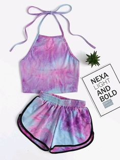 croptop girls Shop Halter Neck Water Color Crop Top With Ringer Shorts online. SheIn offers Halter Neck Water Color Crop Top With Ringer Shorts amp; more to fit your fashionable needs. Crop Top And Shorts, Crop Top Outfits, Crop Tops, Tie Dye Crop Top, Teen Fashion Outfits, Outfits For Teens, Casual Outfits, Yoga Outfits, Fitness Outfits