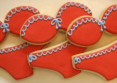 bikini cookies- SO cute! Bikini Cookies, Lingerie Cookies, Lingerie Party, Bachelorette Cookies, Bachelorette Party Planning, Cute Cookies, Cupcake Cookies, How To Make Red, Cookie Designs