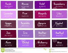 Illustration about Purple Tone Color Shade Background with Code and Name Illustration. Illustration of color, chart, heather - 63598738 Purple Color Chart, Purple Color Names, Purple Colour Shades, Purple Color Palettes, Purple Iris, Hair Color Purple, Colour Pallette, Purple Colour Meaning, Wall Colors