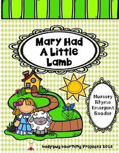 Mary Had A Little Lamb Nursery Rhyme Sight Word Emergent Reader