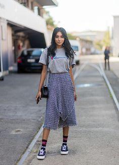 News Photo : Vydia Rishie wearing Vetements tshirt, skirt,...