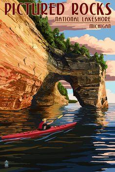 Pictured Rocks National Lakeshore, Michigan - Lantern Press Poster #puremichigan
