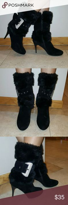 "Suede Fur Boots w/ Buckle Worn sparingly... Like NEW  Side zipper SILVER BUCKLE ~approx 4.25"" heel Selina Shoes Heeled Boots"