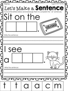 WORD FAMILY freebie. Teach CVC WORDS with this -at word family package. Perfect for your phonics program in your Kindergarten or First Grade Classroom.  FREEBIE