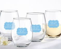 Kate Aspen Will You Be My Bridesmaid Something Blue 15 oz. Stemless Wine Glass (Set of 4)