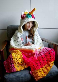 Unicorn hooded blanket crochet pattern by Luz Patterns Crochet Puff Flower, Crochet Unicorn, Crochet Flower Patterns, Afghan Crochet Patterns, Crochet Flowers, Blanket Crochet, Crochet Afghans, Crochet For Kids, Crochet Baby