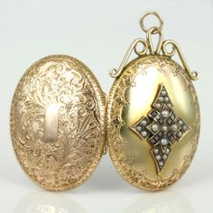 Victorian enamel and pearl locket, 1890.