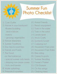 Summer Fun Photo Checklist 2013 from writeclickscrapbook