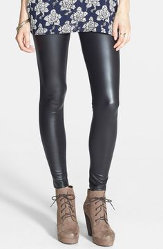 Pair these faux leather leggings with a slouchy sweater top, statement necklace and pop of color heels!