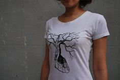 Screen Print on Organic Cotton and Bamboo tshirt   by TheLotusRoot, $28.00