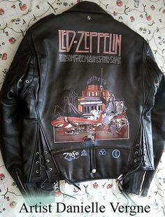 LED ZEPPELIN LEATHER JACKET AIRBRUSHED AND HAND PAINTED