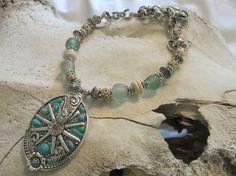 Western Jewelry Cowgirl/Chunky Western Necklace/Horse Jewelry/Cowgirl Jewelry/Western Pendant   A chunky blue stone, rhinestone and silver magnetic