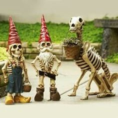 Skele-Gnomes! #gothic #garden #decor