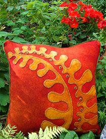 Fall Garden Wool Applique Throw Pillow from woollylady.com