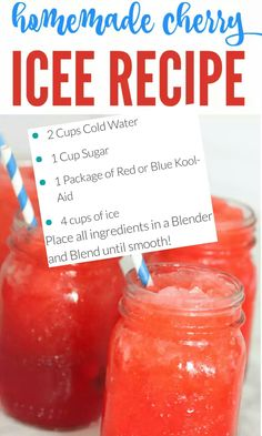 I have a delicious Homemade Cherry Icee Recipe for Summer that you're sure to love and so will the kids! This is the perfect summer icee that will cool everyone down on a hot summers day! Kid Drinks, Frozen Drinks, Summer Drinks, Alcoholic Drinks, Frozen Drink Recipes, Beverages, Cocktails, Liquor Drinks, Dessert Drinks