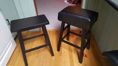 DIY Leather padded barstools....easy!