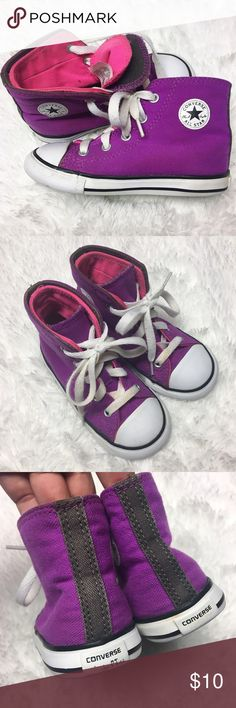 Converse High Top Sneaker Toddler girl size 8 pink and purple high top converse sneaker in good used condition. Converse Shoes Sneakers