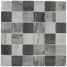 Elida Ceramica Wood Reflections Squares Mosaic Glass Wall Tile (Common: 12-in x 12-in; Actual: 11.75-in x 11.75-in)