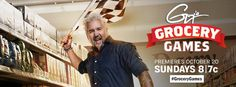 Masculine: This banner is very straight forward and stylish. Guy's facial expression, the fact he is holding a checkered flag, and the name of the show 'Grocery Games' implies a sort of competition that easily catches the attention of a male audience. The date and time are clearly listed and in different styled fonts which helps break them up. The red banner surrounding the word grocery catches your eye. And insinuates competition. It also contrasts well with Guy's blue shirt.