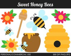 Sweet Honey Bees Clipart - Digital Clip Art Graphics for Personal or Commercial Use on Etsy, $5.00
