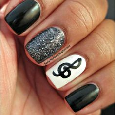 Music Black and White Nail Design for Short Nails