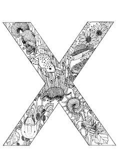 Le lettre X illustrée avec les animaux de la savane à l'intérieur, coloriage avancé