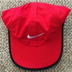 6518dbef353 Mens Womens OS Nike Dri-Fit Feather Light Adjustable Hat Red 611811 Tennis  Cap