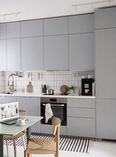 Lessons in designing a minimal kitchen, with Miele [spon] - Miele induction hob . - Haus - GS Home Minimal Kitchen Design, Ikea Kitchen Design, Kitchen Decor, Kitchen Ideas, Ikea Kitchen Inspiration, Minimalist Kitchen Tiles, Minimalistic Kitchen, Metro Tiles Kitchen, Kitchen Trends