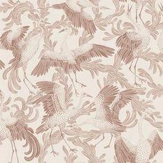 Scandinavian design wallpaper Dancing Crane from collection Simplicity, Engblad & Co Red Wallpaper, Bathroom Wallpaper, Interior Wallpaper, Bracelet Message, Code Art, William Morris, Designer Wallpaper, Farrow Ball, Pink Bird