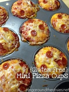 Easy Mini Gluten Free Pizza Cups (makes10): I like this idea for kids, anyone have ideas to make it more adultish let me know!  INSTRUCTIONS: Prepare biscuits according to Bisquick(find at grocery store) directions, double the batch to make 20, or recipes also available online. Place in muffin tins, top with sauce, cheese, then pepperoni. Bisquick can be cut in half and treat can be layered .. remember to give room for the dough to raise! WARNING: very busy website!