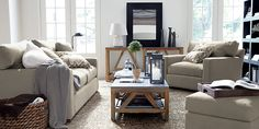 Crate & Barrel living room- so soothing!