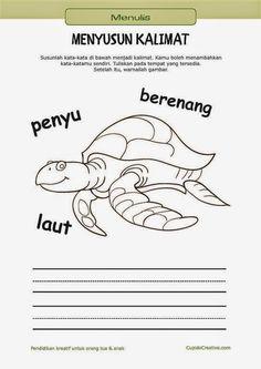 belajar membaca & menulis anak TK/SD, menyusun kata menjadi kalimat & mewarnai gambar penyu