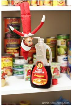 25 Fun Elf on the Shelf Ideas. Use this one with koolaid in fridge.