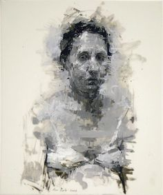 """Self Portrait with Bra"" (2008) Oil and Graphite on Vellum, 14 x 11 inches Ann Gale"