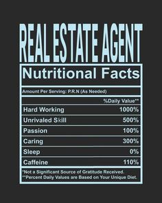 A Real Estate Agents Nutritional Facts . Keep in mind the % Daily Value . Real Estate Software, Real Estate Career, Real Estate Business, Selling Real Estate, Real Estate Tips, Real Estate Investing, Real Estate Slogans, Real Estate Advertising, Real Estate Quotes