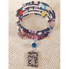 Frida Memory Wire Bracelet, Beaded. By Susie Carranza. Available at www.ArtedeNuestroCorazon.com