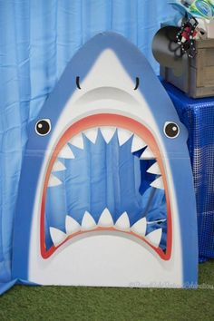 Shark themed birthday party via Kara's Party Ideas KarasPartyIdeas.com Printables, cake, decor, tutorials, recipes, etc! #sharks #sharkparty (18)