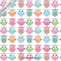 Cute owls pattern Free Vector