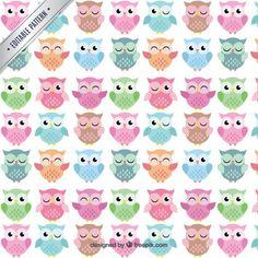 Cute owls pattern Free Vector