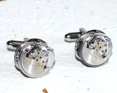 LONGINES Men Steampunk Cufflinks  - Made with Longines Automatic Watch Movement. Available at TimeInFantasy, $195.00