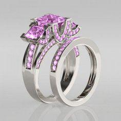 1.5CT Princess Cut Created Pink Sapphire Rhodium Plated 925 Sterling Silver Women's Three Stone Wedding Ring Set/Engagement Ring #engagementring #jeulia #jeuliarings #jewellery #jewelry #rings #weddingring #weddingset #bridalring #pink #silverring #sapphirering #women #princess