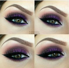 Purple smoked eye with arched and defined brow and pop of silver in the inner corner/tear duct area