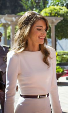 Pale pink on Queen Rania looks so pretty
